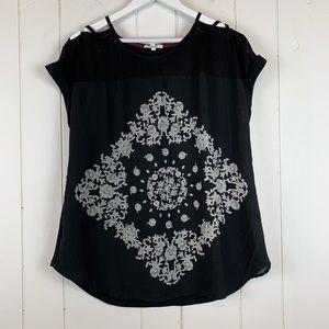 Maurices Blouse 0X Plus Size Cutouts Black